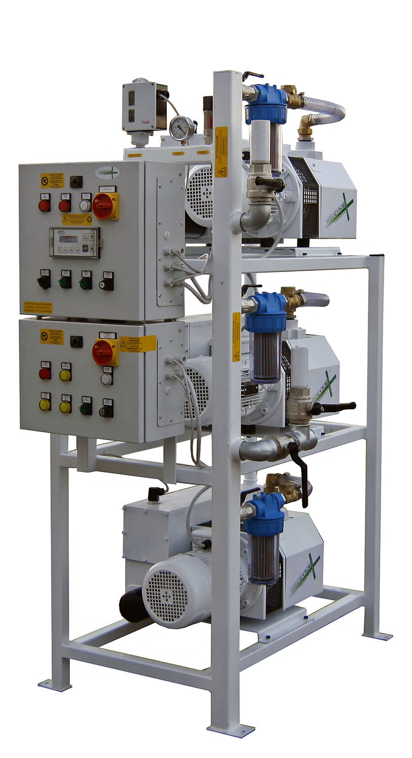 Medical vacuum system / rotary vane / lubricated 3×2,2 kW – 3×3,0 kW, 10 mbar | 3 x 100PBO-M